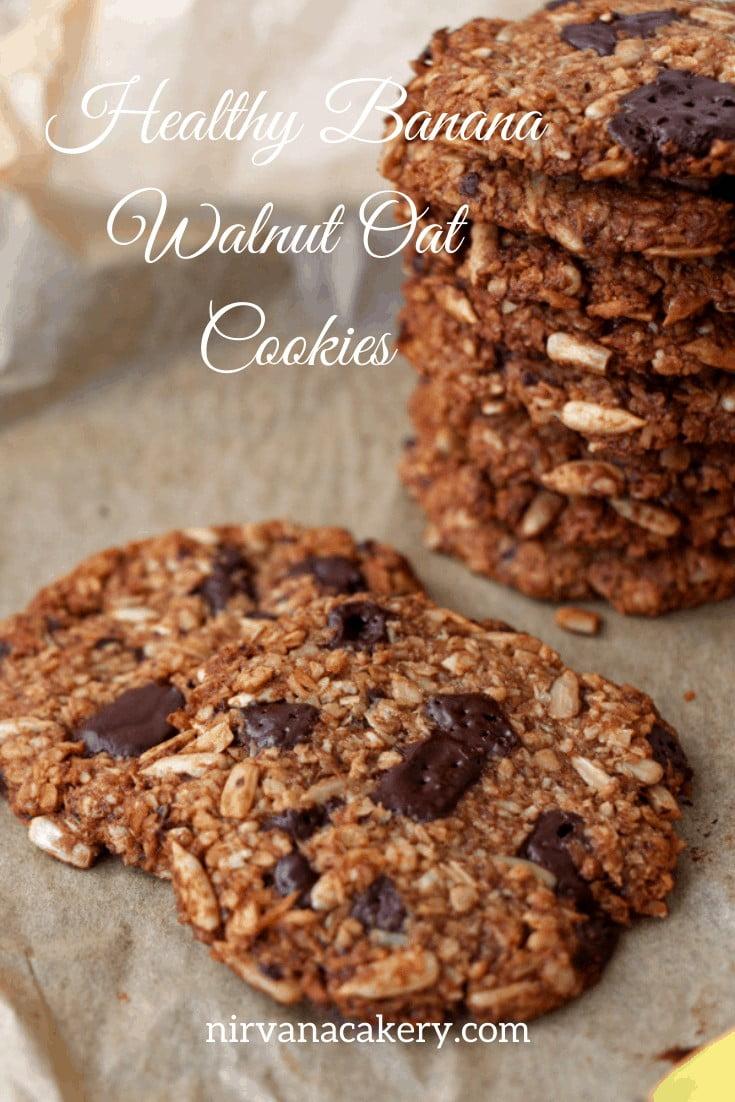 Healthy Banana, Walnut and Oat Cookies