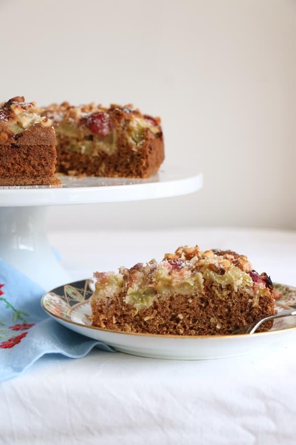 Rhubarb and Strawberry Hazelnut Cake