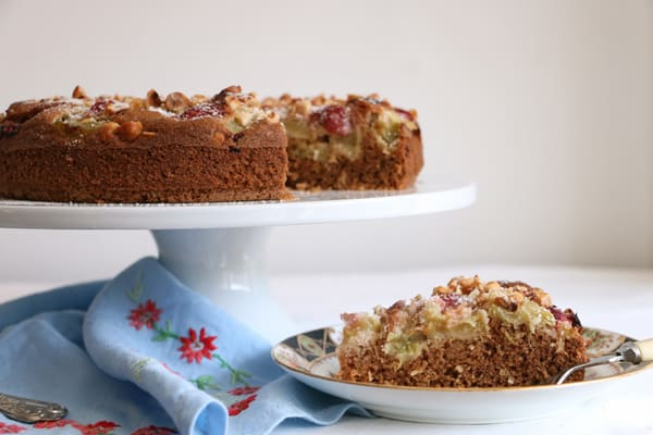Rhubarb and Strawberry Hazelnut Cake (gluten-free)