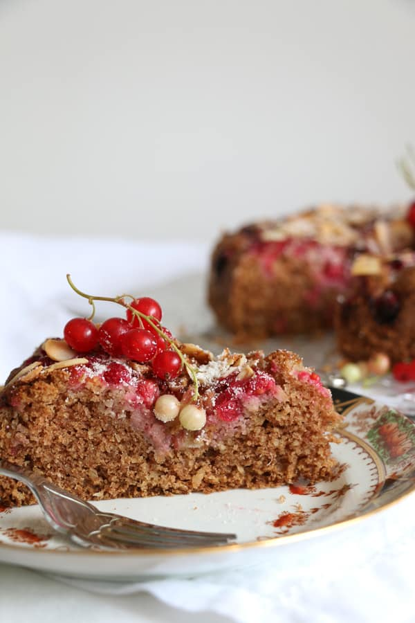 Redcurrant Almond and Buckwheat Cake (gluten-free)