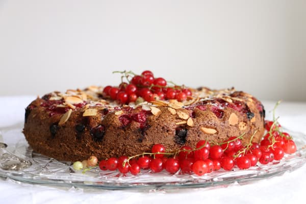 Redcurrant Almond and Buckwheat Cake
