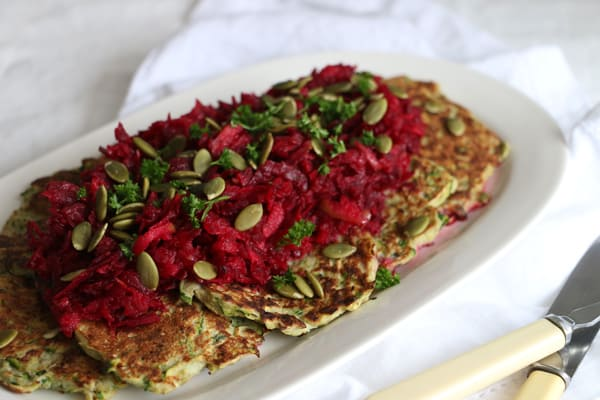Courgette Fritters with Beetroot and Apple Coleslaw
