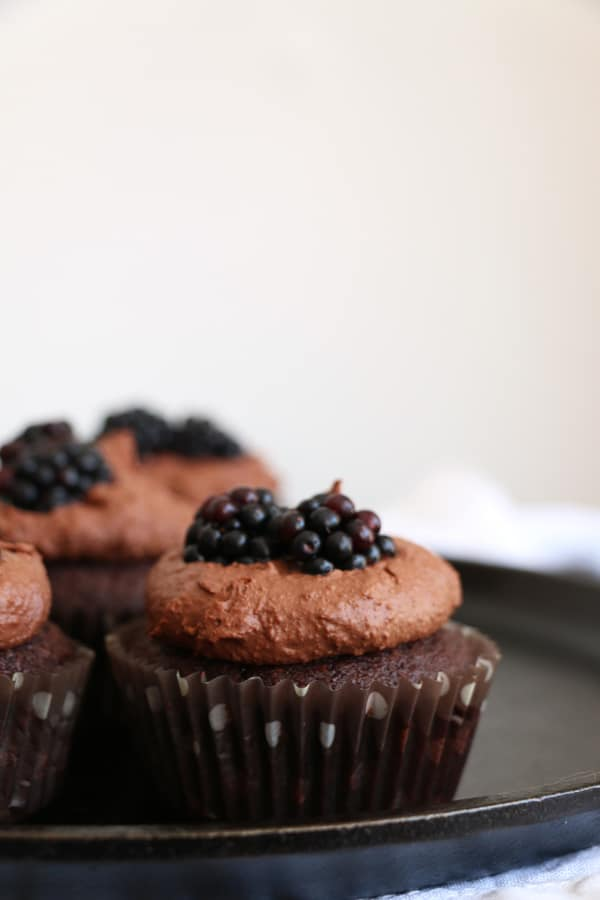 Chocolate and Blackberry Vegan Cupcakes