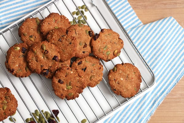 Cranberry, hazelnut and Buckwheat Cookies