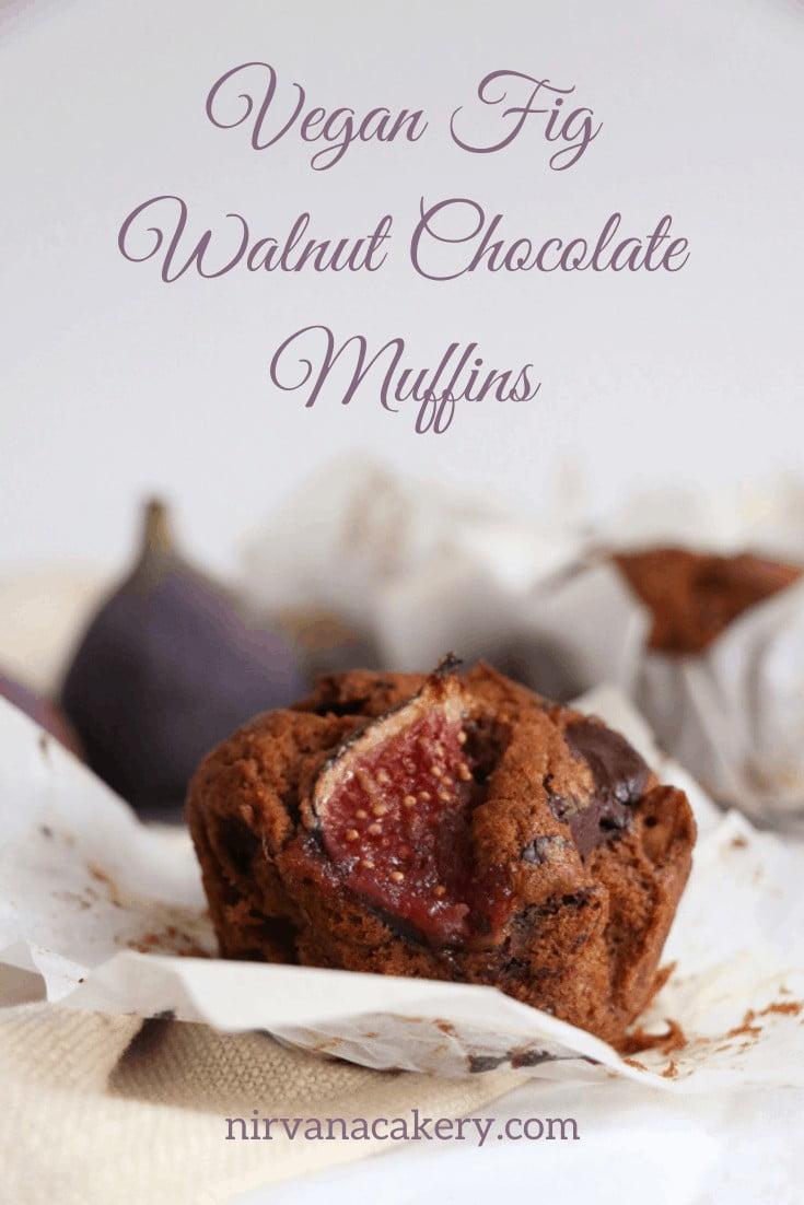 Fig Walnut Chocolate Muffins