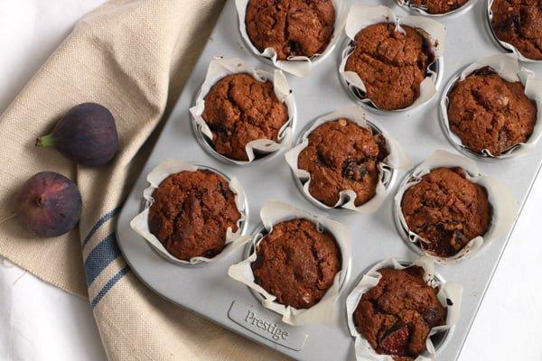 Fig, Walnut and Chocolate Muffins Vegan