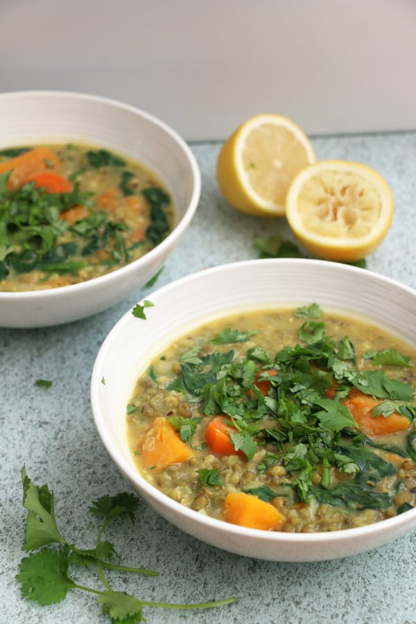 Mung Bean, Squash and Spinach Soup