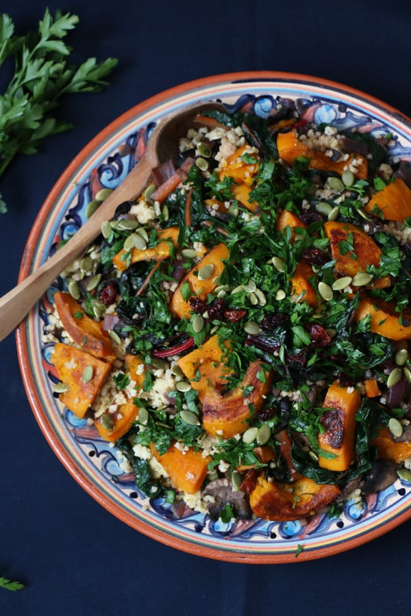 Pumpkin, Chard and Mushroom Millet Salad