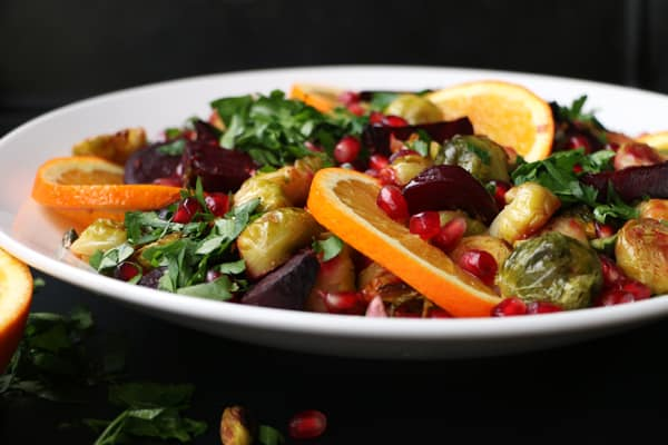 Roasted Beetroot, Brussels Sprouts and Pomegranate Salad