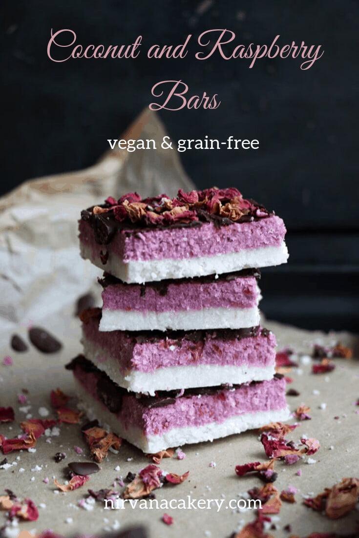 Coconut and Raspberry Bars (vegan & grain-free)