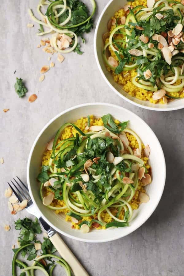 Turmeric Millet with Courgetti - healthy, wholesome and simple recipe that takes less than half an hour to put together and tastes and looks amazing.