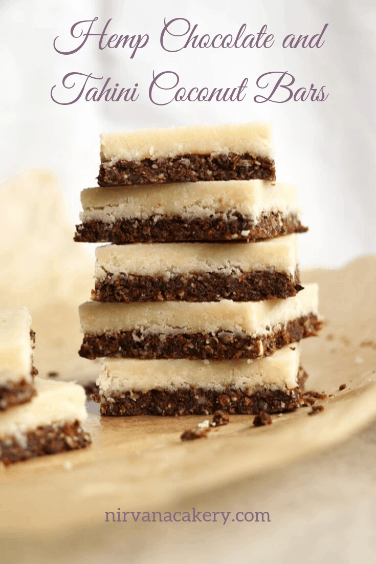Hemp, Chocolate and Tahini Coconut Bars (grain-free & vegan)