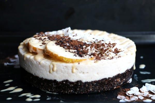 Raw Carob, Coconut and Pear Cake (grain-free & vegan)