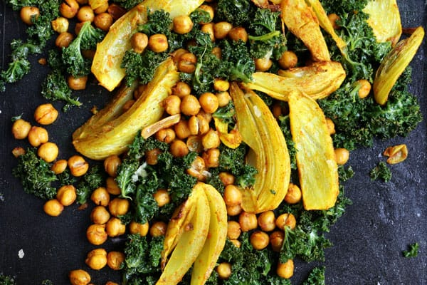 Turmeric Roasted Fennel, Chickpeas and Kale Salad