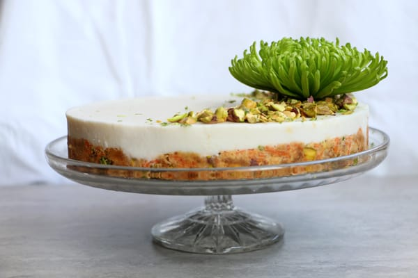 Raw Carrot Cake with Pistachios and Lime Coconut Frosting