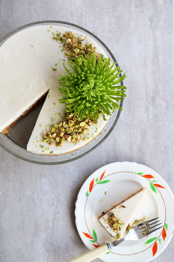 Raw Carrot Cake with Pistachios and Lime Coconut Frosting (grain-free & vegan)