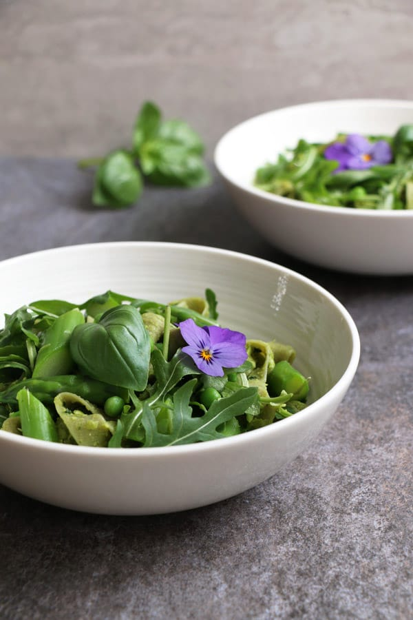 Asparagus Peas Pasta with Green Pea Pesto
