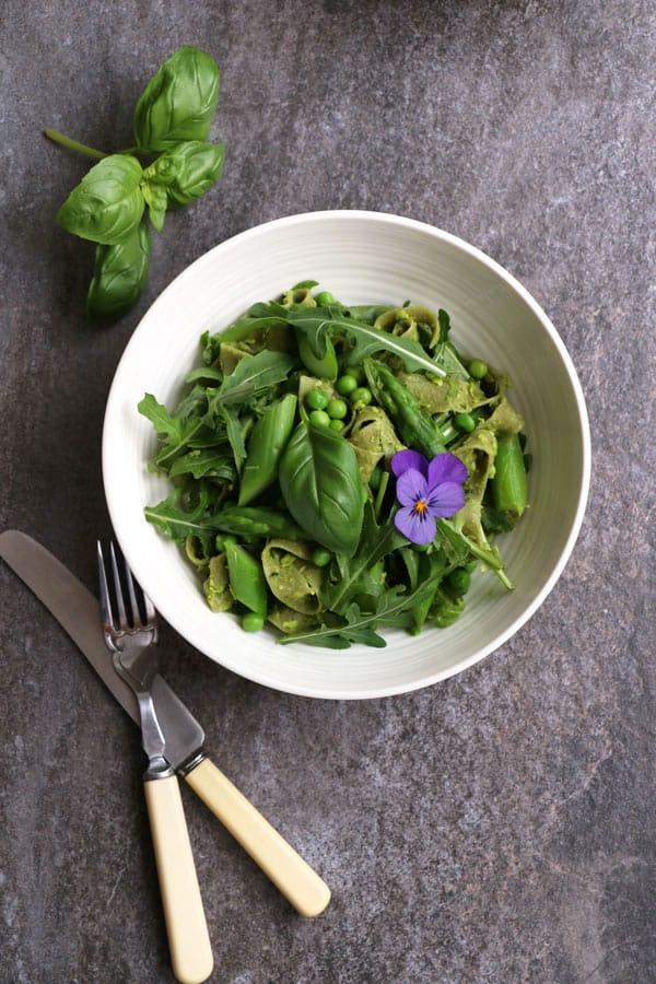 Asparagus Peas Pasta with Green Pea Pesto