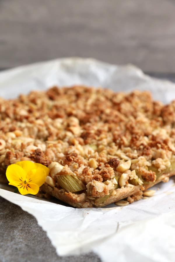Rhubarb Hazelnut Crumb Bars