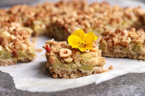 Rhubarb Hazelnut Crumb Bars (gluten-free & vegan)