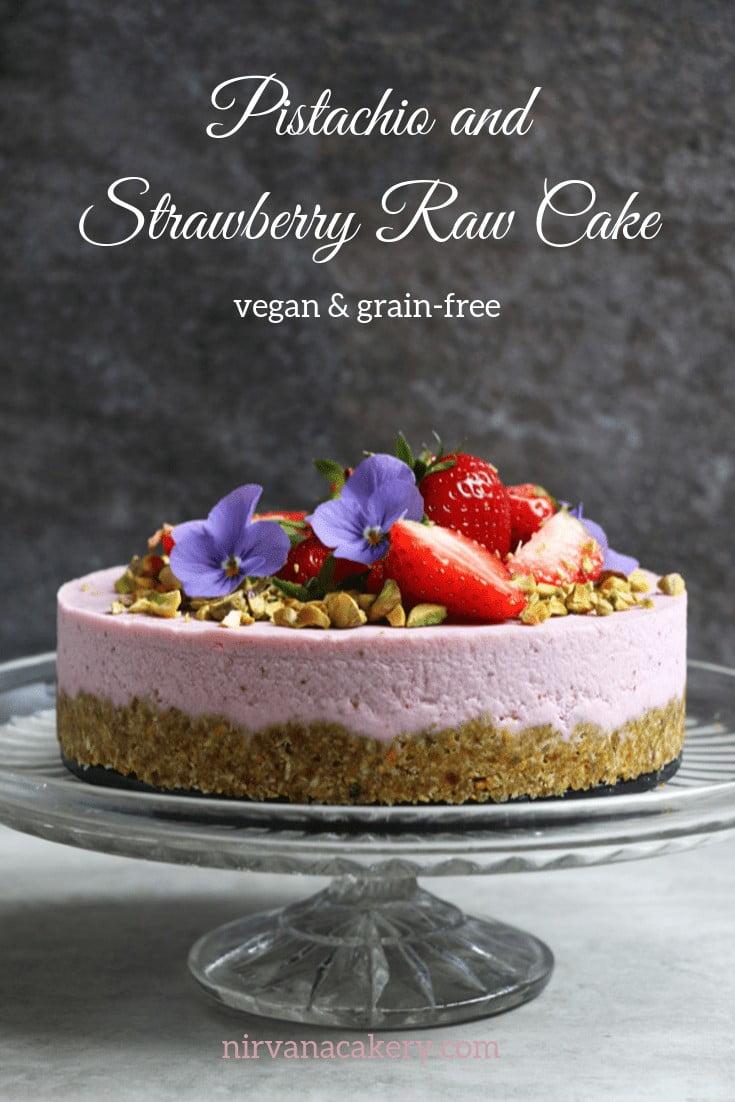 Pistachio and Strawberry Raw Cake (grain-free & vegan)