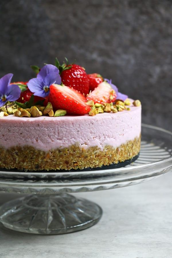 Pistachio And Strawberry Raw Cake Grain Free Amp Vegan