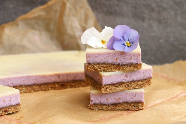 Raspberry White Chocolate Bars with Sunflower Seed and Tahini Crust (grain-free & vegan)