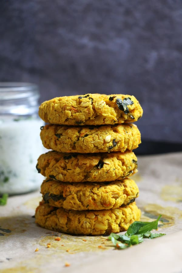 Red Lentil Burgers with Cucumber Raita (gluten-free & vegan)