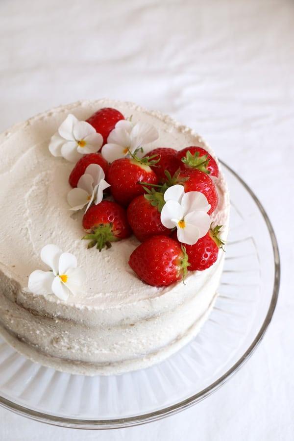 Strawberry Coconut Sponge Cake (gluten-free & vegan)
