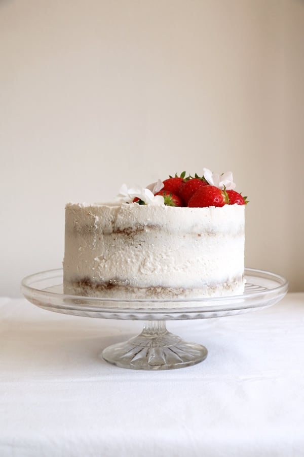 Strawberry Coconut Sponge Cake (gluten-free & vegan)