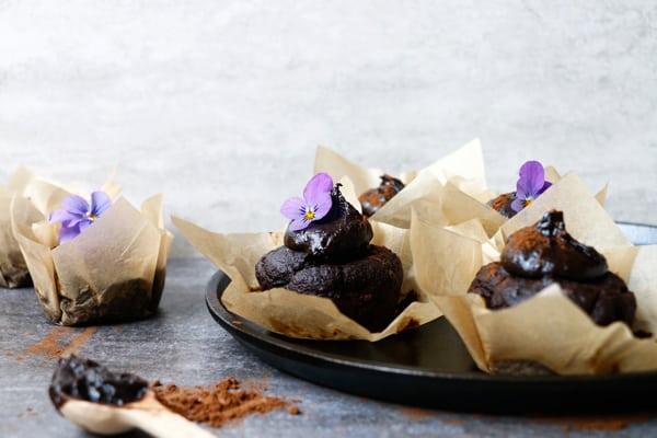 Carob, Walnut and Teff Muffins with Carob Tahini Frosting (gluten-free & vegan)