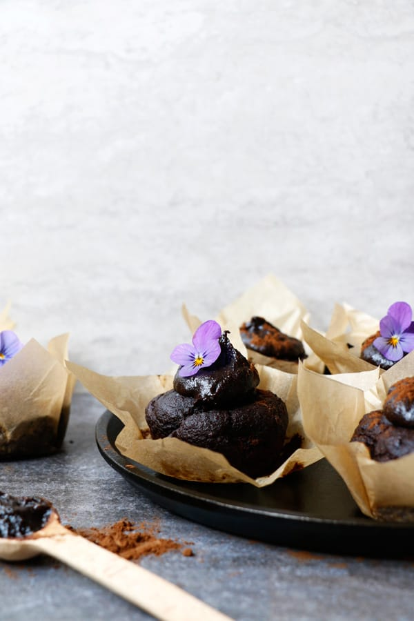 Carob, Walnut and Teff Muffins with Carob Tahini Frosting (gluten-free & vegan)