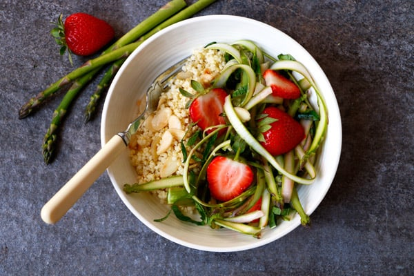 Shaved Asparagus Salad with Strawberries and Millet