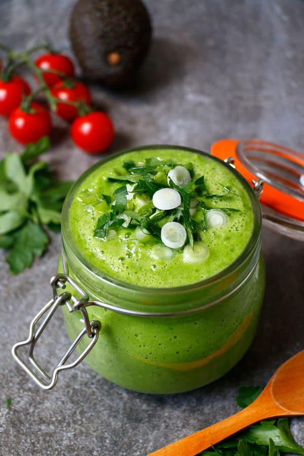 Chilled Green Summer Soup (grain-free & vegan)