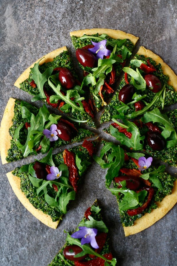 Socca Pizza with Hemp and Pumpkin Seed Kale Pesto (gluten-free & vegan)