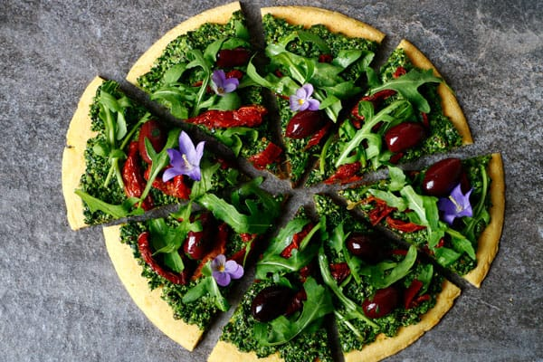 Socca Pizza with Hemp and Pumpkin Seed Kale Pesto (gluten-free & vegan)