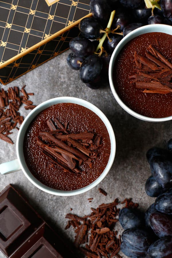 Chocolate Amaranth Pudding with Cardamom Poached Pears (gluten-free & vegan)