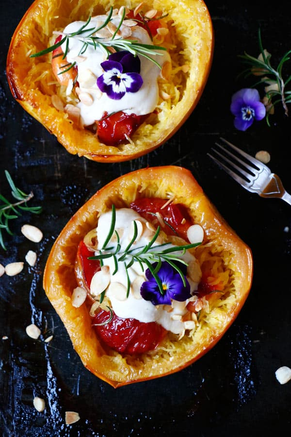 Roasted Spaghetti Squash with Plums and Cashew Sauce (grain-free & vegan)