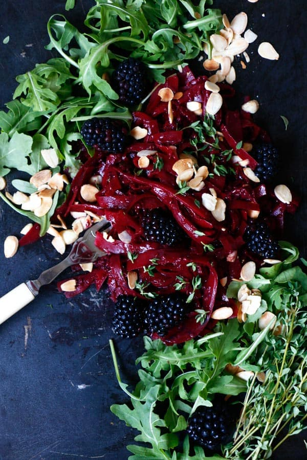 Squash Tagliatelle with Blackberry Thyme Sauce (grain-free & vegan)