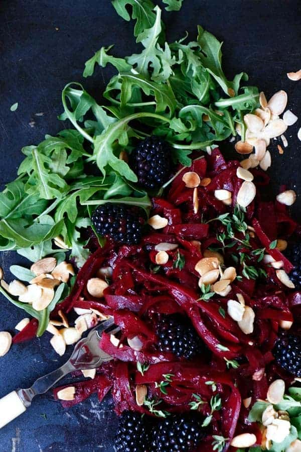 Squash Tagliatelle with Blackberry Thyme Sauce (grain-free & vegan)