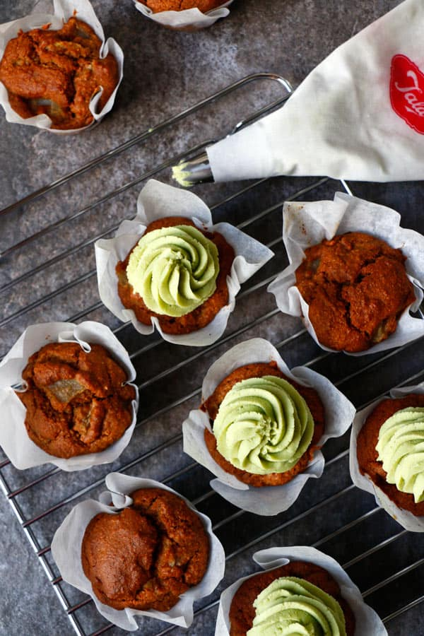 Pear Muffins with Avocado Frosting (gluten-free & vegan)