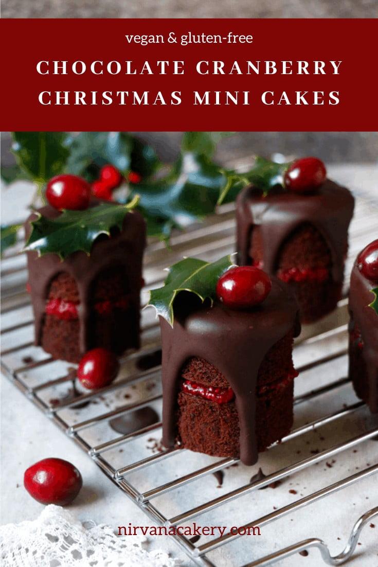 Chocolate Cranberry Christmas Mini Cakes