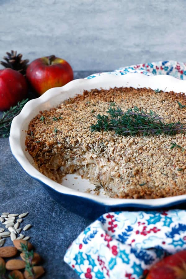 Savoury Celeriac Apple Crumble (grain-free & vegan)
