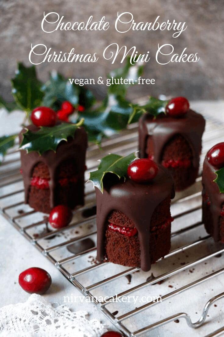 Chocolate Cranberry Christmas Mini Cakes (vegan, gluten-free, nut-free)
