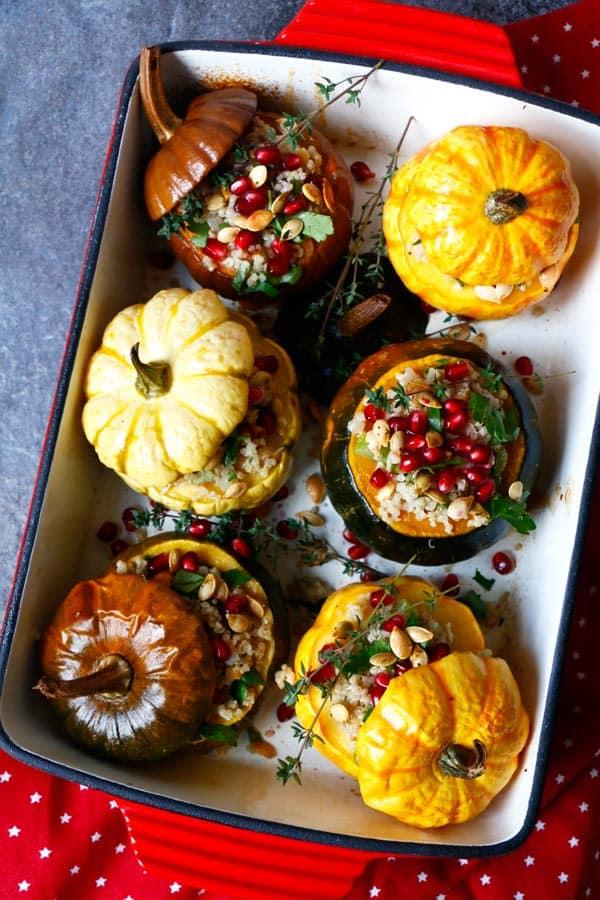Quinoa Stuffed Squash with Walnuts and Pomegranate (gluten-free & vegan)