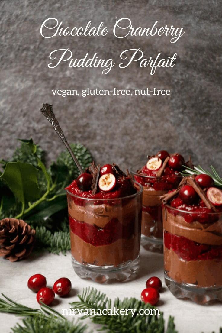 Vegan Chocolate Cranberry Pudding Parfait