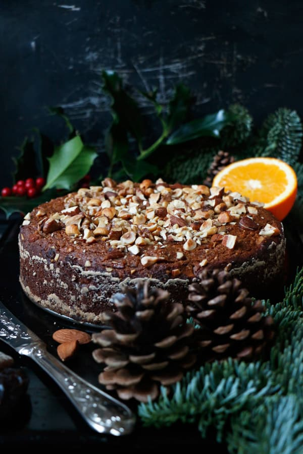 Fruit and Nut Cake with Orange Cardamom Cashew Cream (gluten-free & vegan)