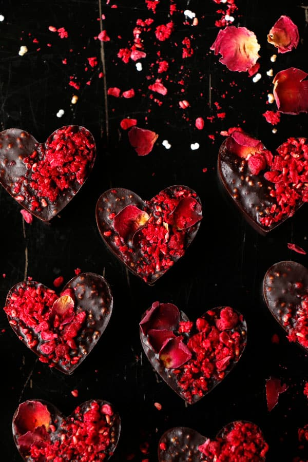 Raspberry Amaranth Chocolate Hearts (vegan)