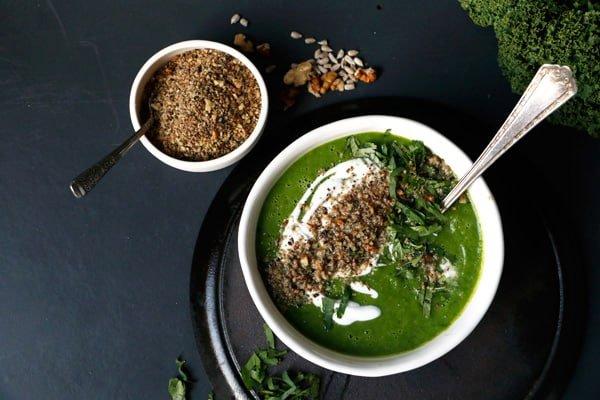 Celeriac Apple Kale Soup with Walnut Dukkah