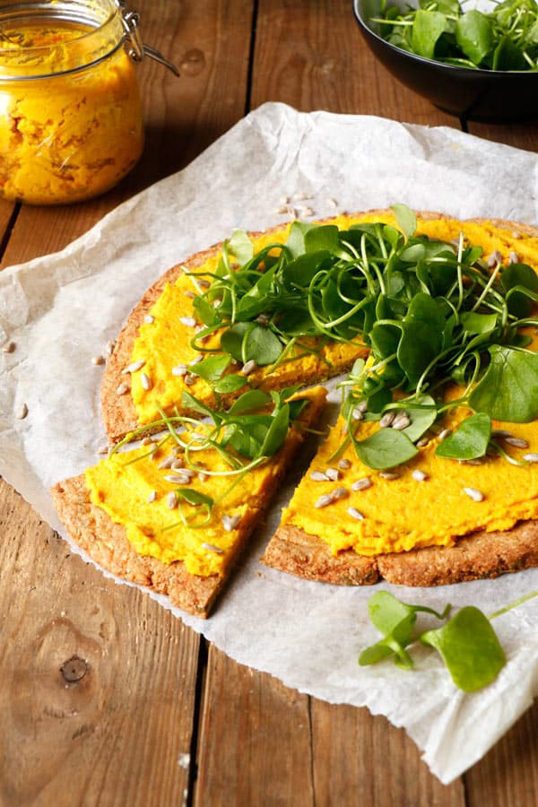 Parsnip Pizza with Roasted Carrot Parsnip Hummus (grain-free & vegan)